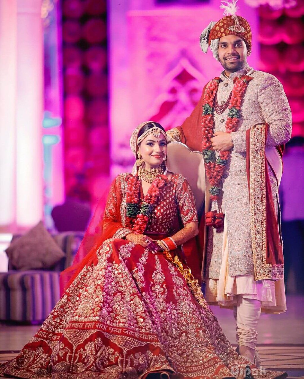 bride-groom outfit combination for wedding