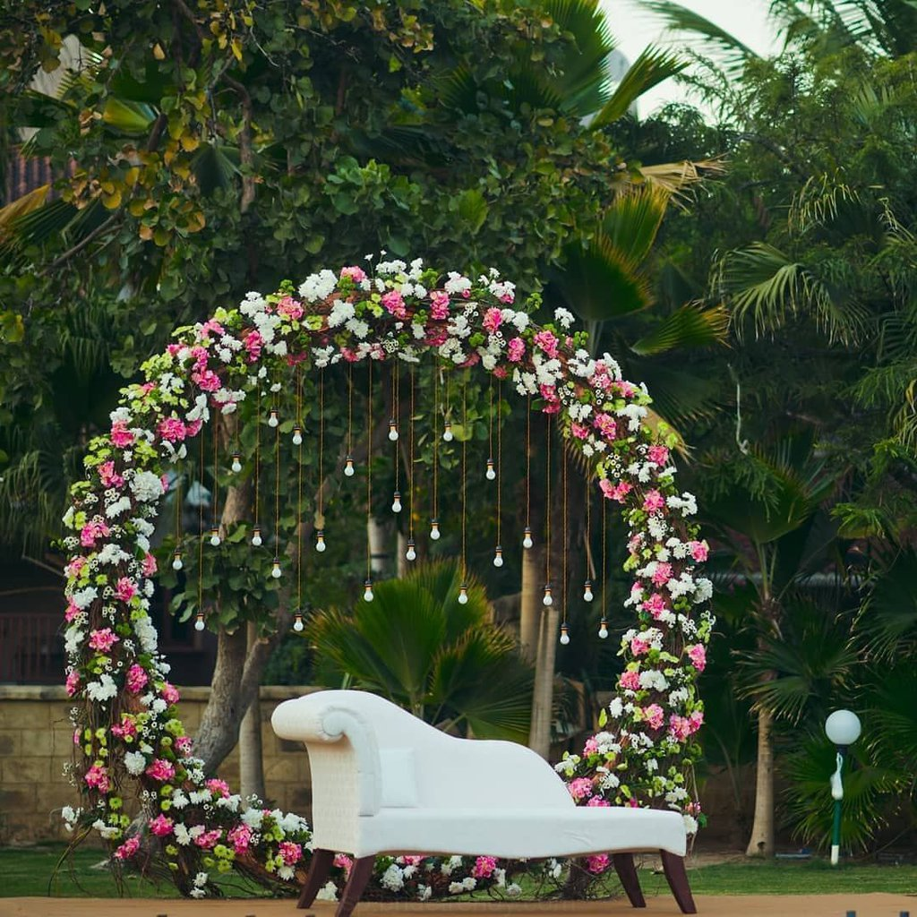 White and Pink Floral Decor for Quirky Haldi Decor