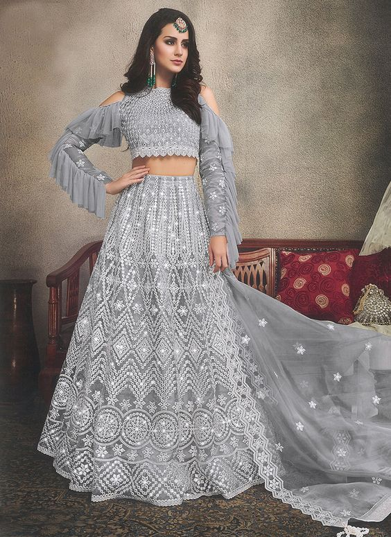 A Grey Colour Lehenga to Show Love for Embroidery