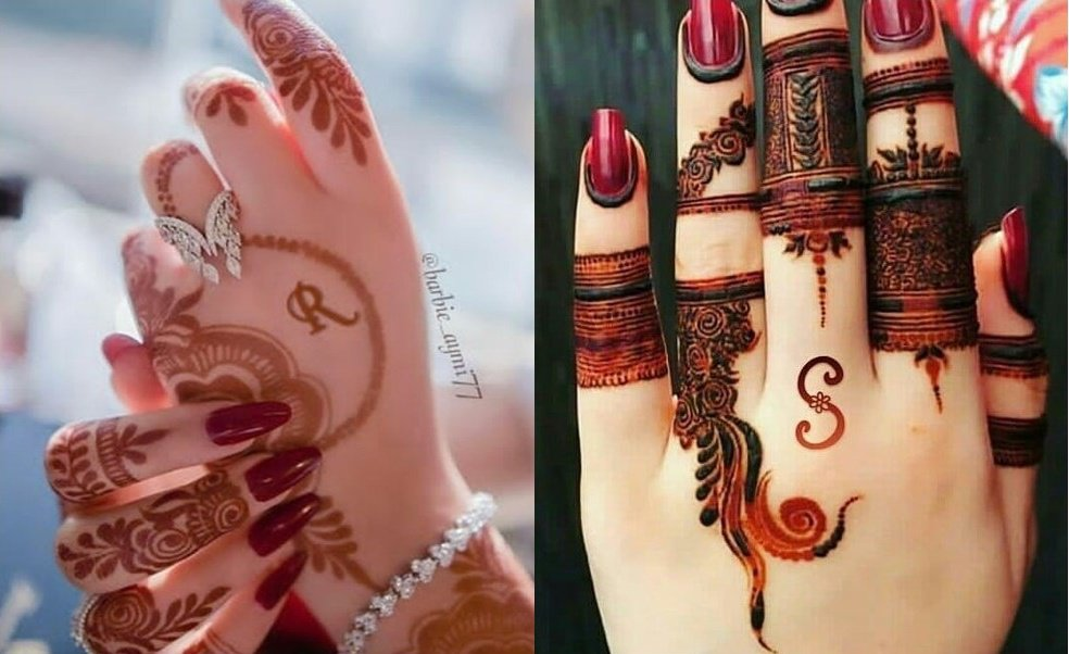 Artistic Intials Hiding Husband Name in Mehndi