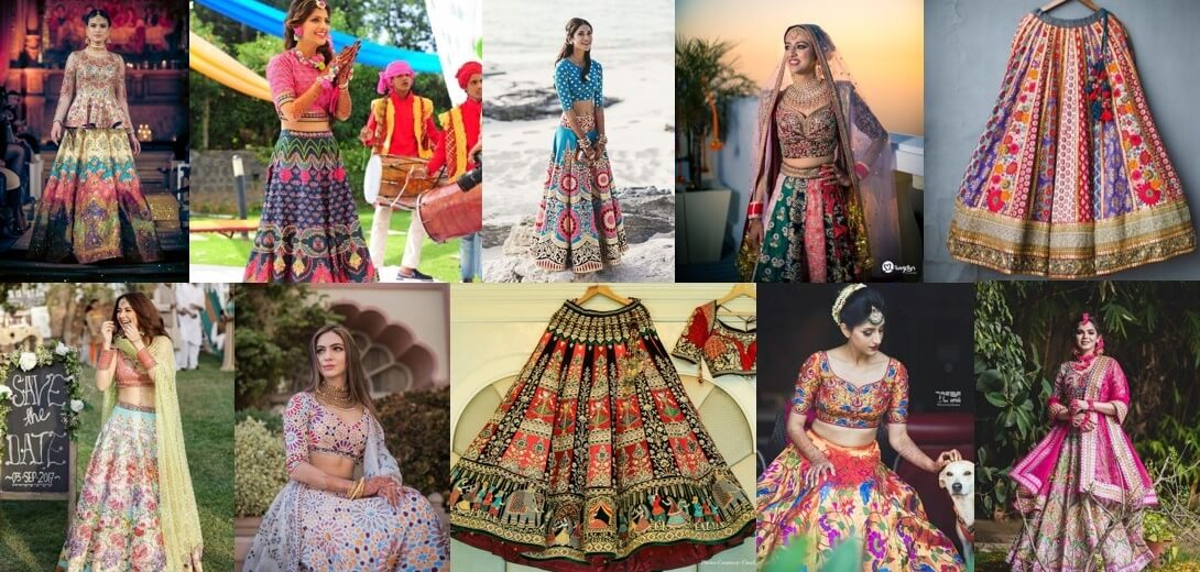 29+ Stunning Multi-coloured Lehengas for an Offbeat Bridal Look in 2020