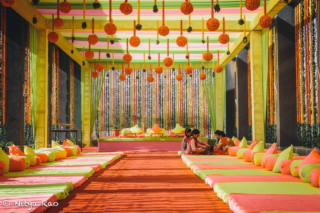 elaborate canopy decoration in sangeet function