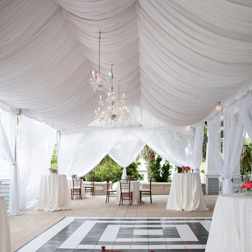 beautiful wedding decoration with white canopy