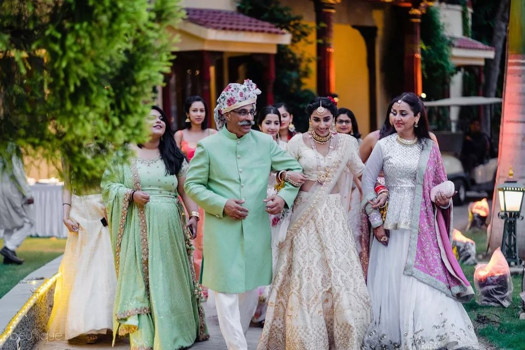 bridal entry with whole family with a joy