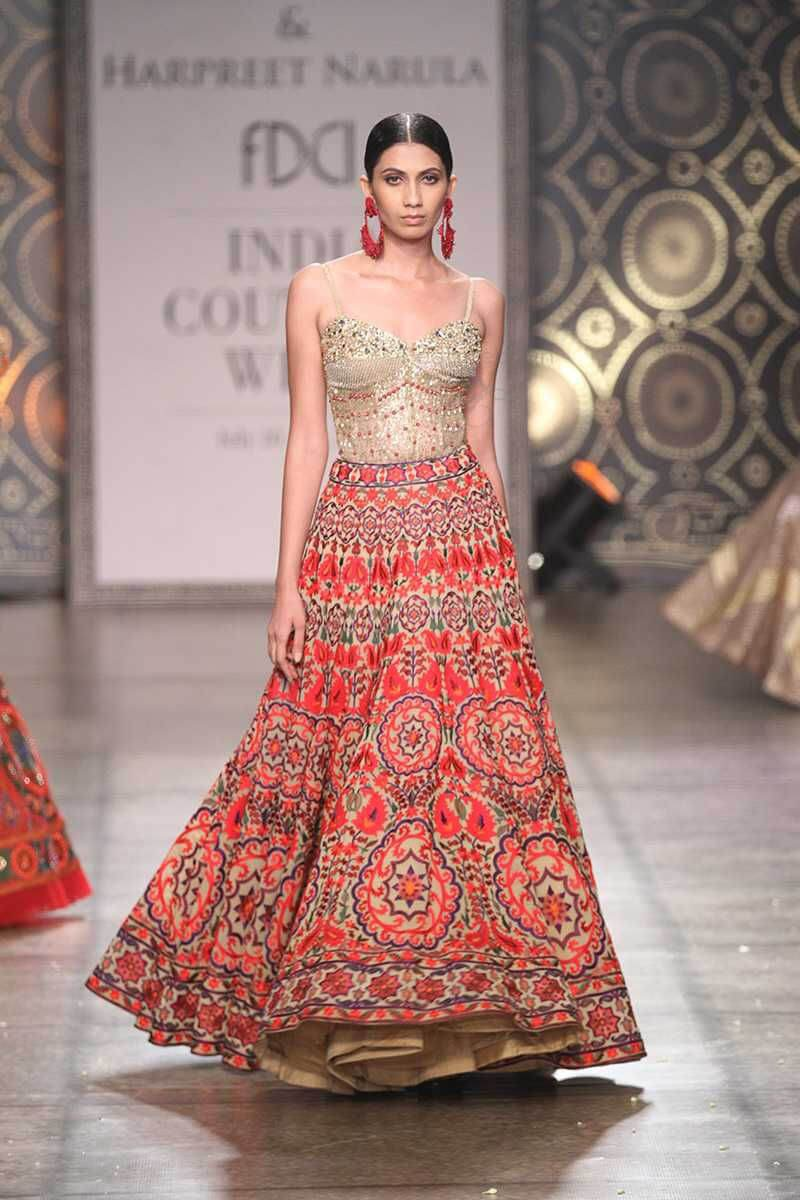 printed beige and red bridal lehenga by rimple and harpreet narula collection