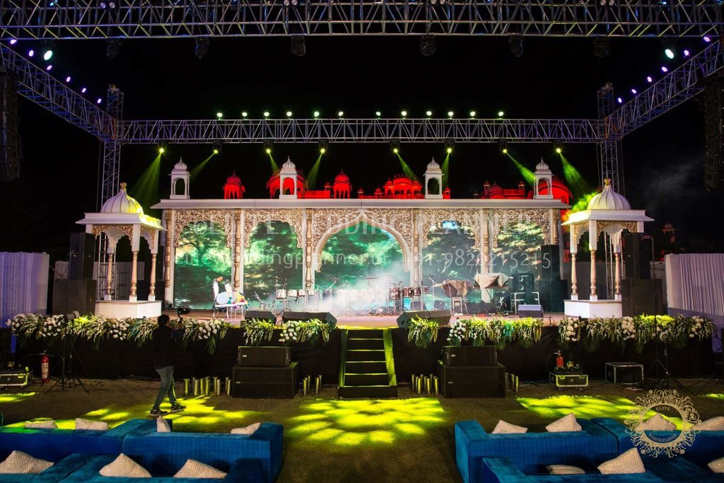 decorated wedding exterior area by elite wedding planners