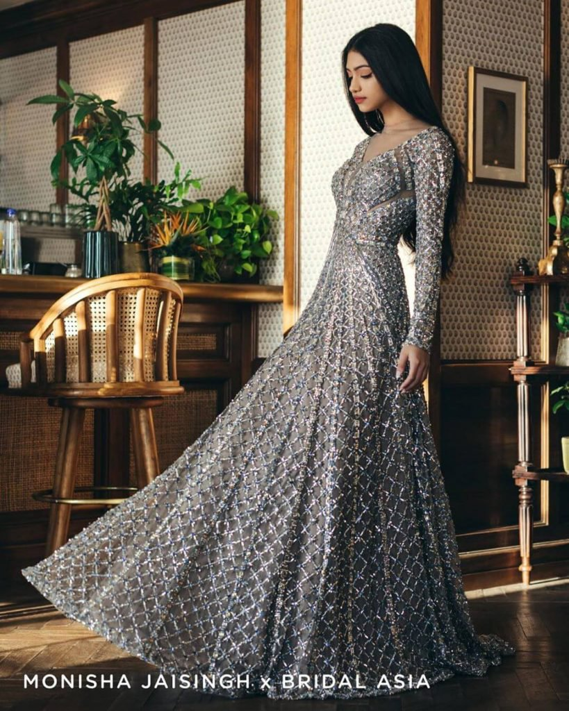 glittery silver party gown for sister of bride and groom