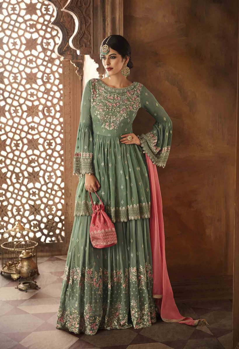 printed olive green sharara suit for sister of bride and groom