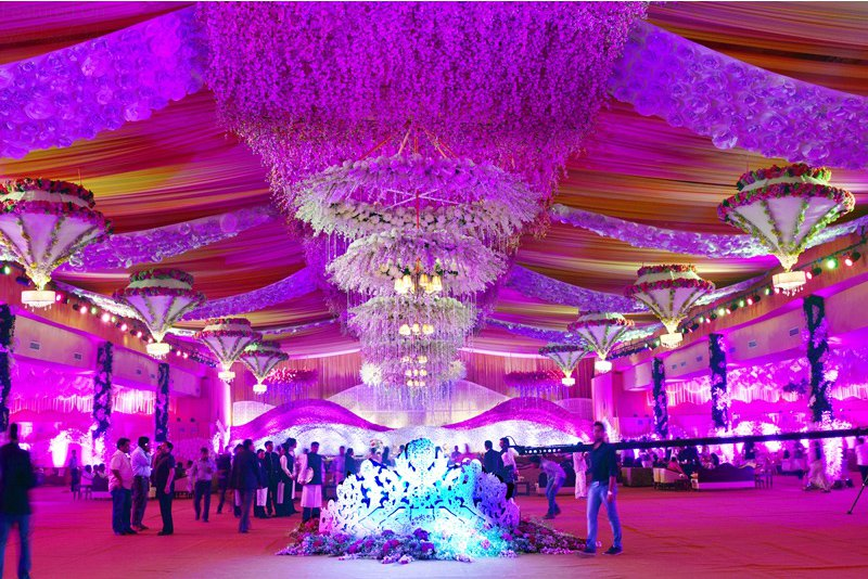 beautiful Lilac Purple ceiling decor with chandliers