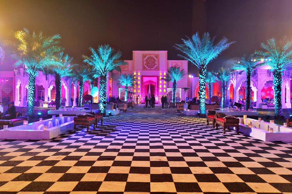 open lawn decoration with purple lighting