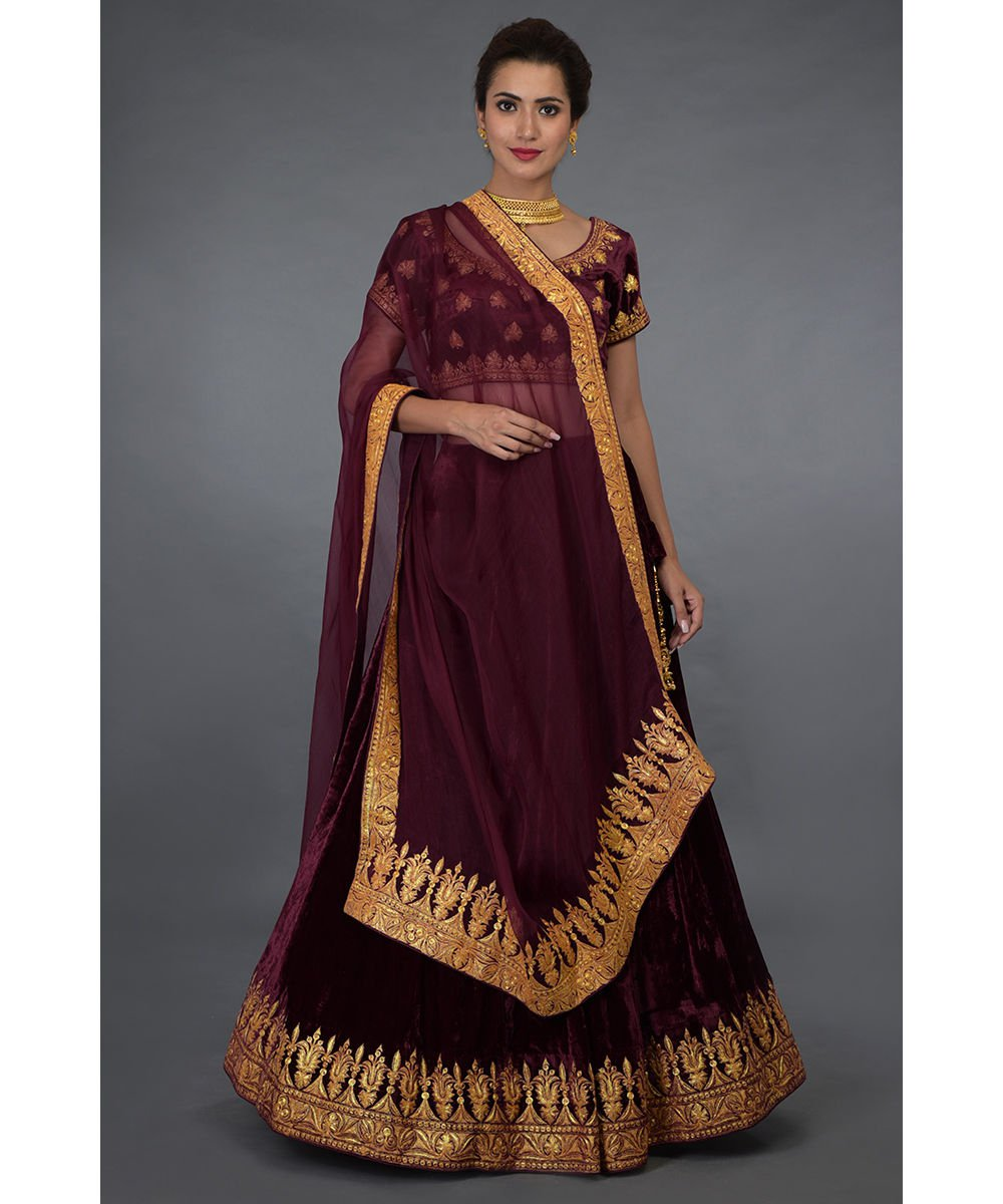 mother-of-the-bride-in-a-burgundy-lehenga