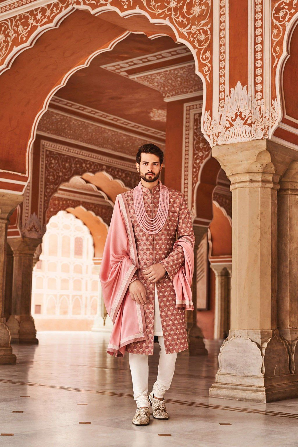 booti-prints-with-dark-pink-simple-patterned-sherwani-designs-for-groom