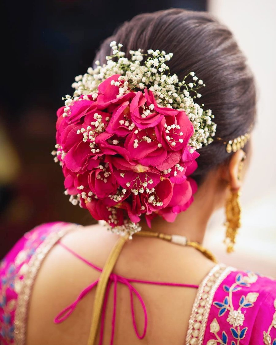 flowers and rose petals hairstyles