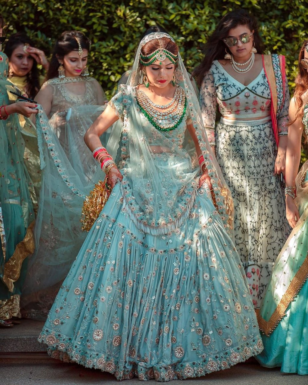 Baby-Blue colored lehenga for brides